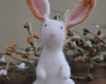 Rabbit, White Wool Needle-felted, Handmade