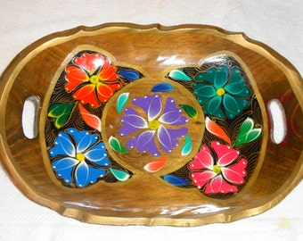 "SALE vivid colored Mexican BATEA tray, 12""L x 8 ""W, hand painted tole folk art ,wood excellent condition"