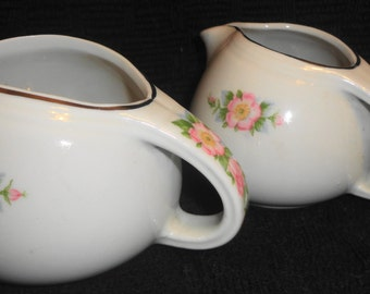 Lovely Hall superior quality rose white cream and sugar, usa made, ex used cond #658