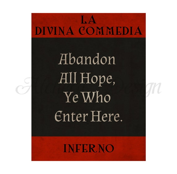 Divine Comedy Quotes: Items Similar To INFERNO // The Divine Comedy