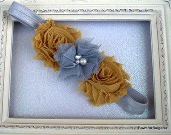 Grey & Mustard Flower Headband