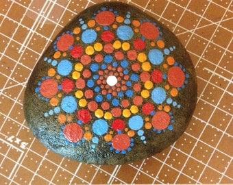 "Mandala Stone - ""Compass"" (#515B)- spirit, meditation & inspiration - hand painted - signed and numbered"