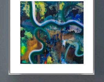 POND Abstract modern art print from original mixed media