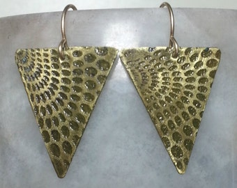 Lace Etched Brass Earrings
