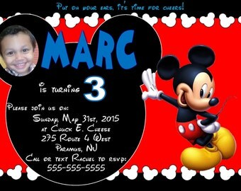 Mickey Mouse birthday Invite Invitation 5x7 Personalized