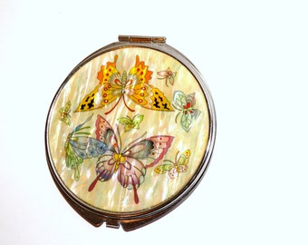 Vintage Butterfly Purse Mirror.