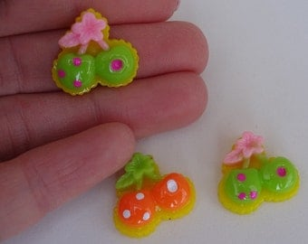 3 mix cherries green and orange food resin flatback decoden cabochons Kawaii embellishments scrapbook DIY phone hairbow centre clip pin