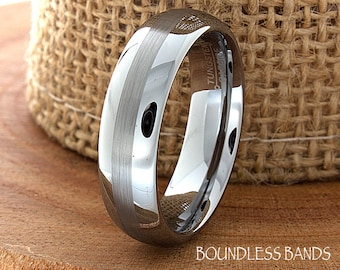 Modern Wedding Band Dome High Polished Middle Satin Finish Ring Customized Tungsten Band Mens Tungsten Ring Mens Wedding Ring Engraving 6mm