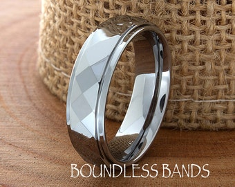 Tungsten Ring Faceted  Diamond Cut 6mm Tungsten Band For Men's Women's Anniversary Ring Tungsten Multi Faceted Personalized Laser Engraving