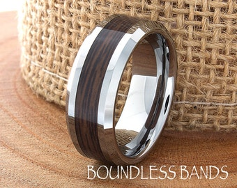 Wood Wedding Band Wood Inlay Ring Tungsten Band Mens Ring Mens Wedding Ring Laser Engraving 8mm Promise Ring Comfort Ring Wood Tungsten Ring