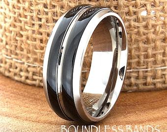 Two Tone Polished Titanium Ring Comfort Fit Custom Engraving Wedding Band Engagement Anniversary Wedding Band Women Double Striped Enamel