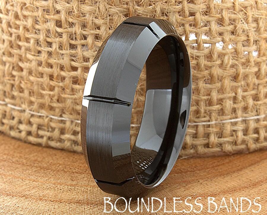 Ceramic Wedding Ring Beveled Mens Wedding Band By BoundlessBands