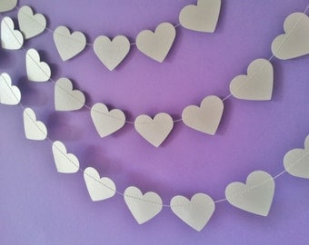 SILVER LINING Paper Hearts Garland - Wedding, Engagement, Party, Shower, Room decoration