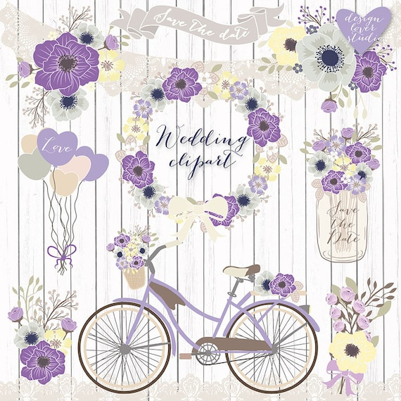 Premium VECTOR Rustic Wedding Clipart Bicycle Clipart Shabby