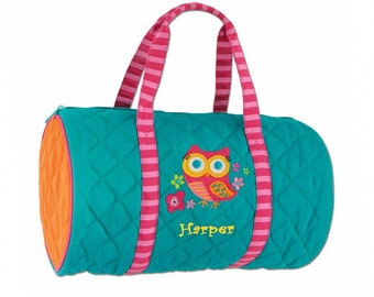 Personalized Quilted Teal Owl Duffel Bag