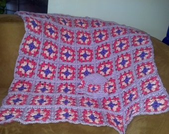 Super soft, brightly colored, hand crocheted newborn baby girl blanket.  Perfect thoughtful gift for that precious bundle of joy.