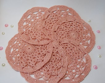 Wedding decoration Beach decor Birthday decoration Flower crochet appliques Party embellishment Crochet coaster Set of 6 appliques
