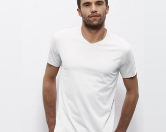 Design and customization of your Organic V neck Tshirt - Men S to XXL