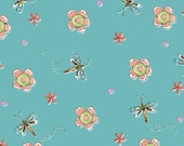 Sewing Room Social, Henry Glass Fabric, Dragonflies, Flowers, Children's Fabric, Blue, 1/2 Yard Cuts 9206