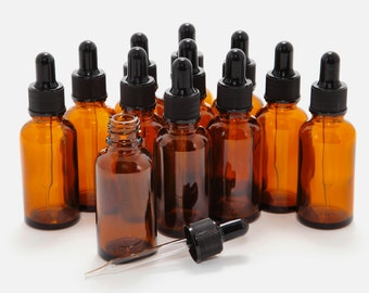 12 New, High Quality, 1 oz Amber Glass Bottles, with Glass Eye Droppers