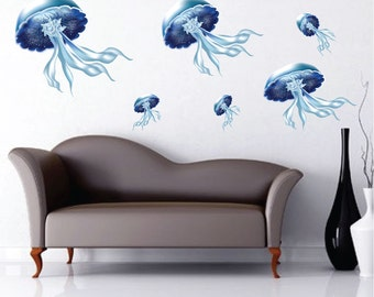 Jellyfish Decal Mural, Peel and Stick Jellyfish, Jelly fish Wall Mural, Jellyfish Wall Decal, Jellyfish Design, Removable Jellyfish, d19