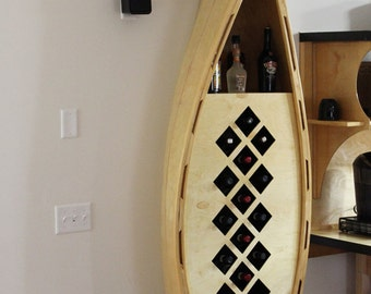Canoe wine rack.