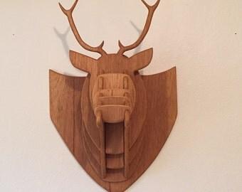 Stained Wood Deer Head