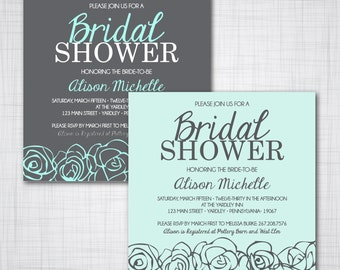 Square Bridal Shower Invitations- Customizable- DIY Printable File