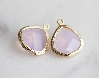 A2-004-G-VO] Violet Opal / 13mm / Gold plated / Glass Pendant / 2 pieces