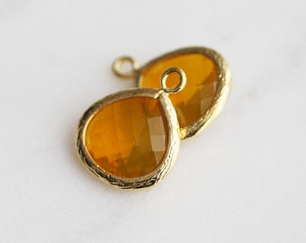 A2-002-G-H] Honey / 13mm / Gold plated / Glass Pendant / 2 pieces