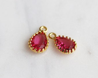 A2-014-G-RU] Ruby Red / Teardrop / 7 x 12mm / Gold plated / Glass Pendant /  2 pieces