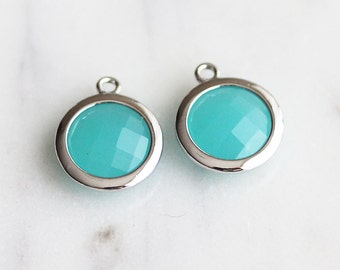 A2-043-R-MT] Mint Green / 12mm / Rhodium plated / Round Glass Pendant /  2 piece(s)