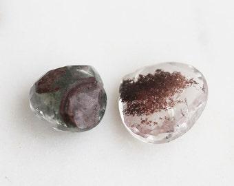 G5-000-H] Moss Rhodolite / 15mm / Faceted Heart Briolettes / Semi Precious Gemstone  / 1 piece(s)
