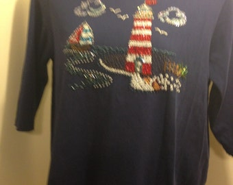 Woman's Vintage Nautical Sailor Bead & Sequence Embellished Knit Top, Made by Quacker Factory
