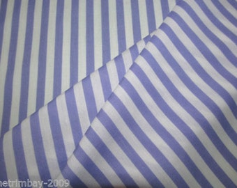 Striped Poly Cotton Lilac Poly Cotton Craft Dress Fabric
