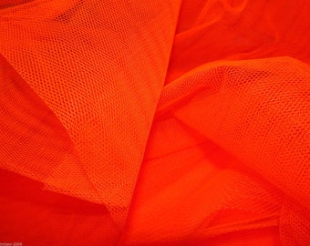 Tulle Netting Dress Fabric 140cm Wide 30 Colour Range -  Flo Tangerine