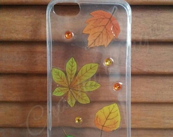 Handmade phone case with leaves