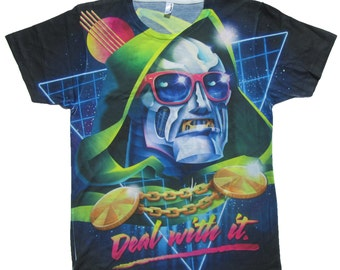Deal with It KIDS' and TEEN T-Shirt Parody Inspired by Doctor Doom, Rock, Villain, Rocky Davies, 90's, 80's, Comic, Comic Con, Funny Shirt