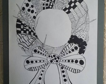 A Wreath for Every Occasion- 12x9, black and white, pin and ink drawing, wall decor