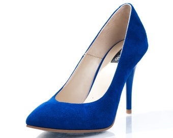 Theresa Blue Suede Stiletto Pumps