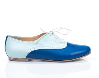 Mika Blue Leather Oxford Shoes