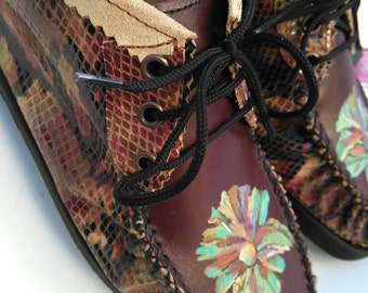 Mocassins style shoe .Handpainted.