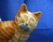 Whimsical Papier Mache Kitty Cat, Orange-striped Tabby, Hand-crafted and Hand Painted, Decorative Kitty, Cat Lover