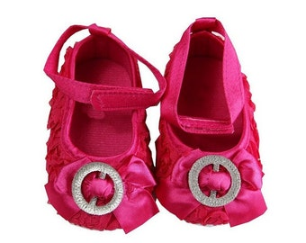 Baby Girls Hot Pink Rosettes Crystal Ribbon Crib Shoes  - Baby Shoes - Soft Sole Baby Girl Shoes