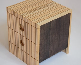 Stripes - Bedside Table in Maple with Fumed oak stripes by Tom Simmonds