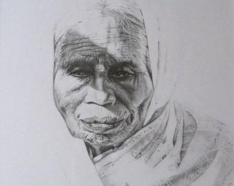 Old lady, original portrait drawing