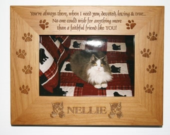Personalized Photo Frame, Engraved Wood Frame, Cat Lover Gift, Pet Loss Frame,Cat Frame, Personalized Cat Memorial,   4x6 Frame
