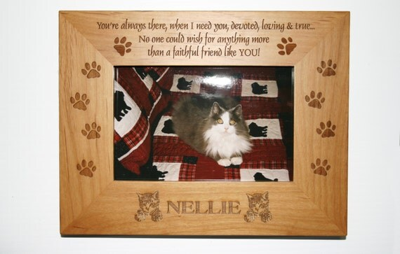 personalized photo frame engraved wood frame cat lover gift pet loss frame