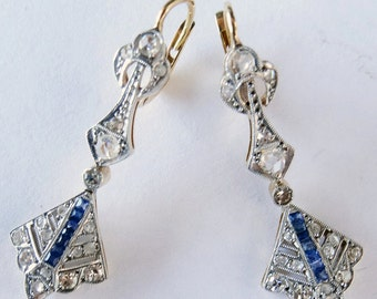 Antique Art Deco Earrings Diamond Sapphire 18k Gold French Ear Pendants (#5683)