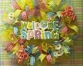 Spring Deco Mesh Wreath-Spring Multi color Wreath-Yellow Pink Lime Green Blue-Door Wreath-Door Decor-Happy Spring Wreath